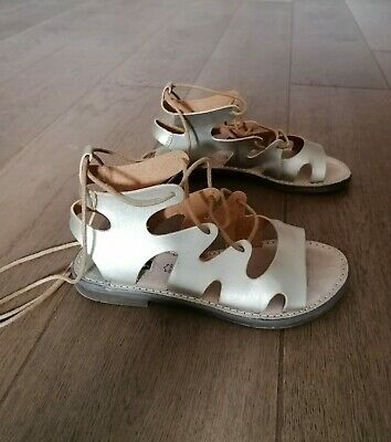 £5.99 • Buy MTNG Leather Silver Wrap Around Gladiator Sandals Size EU 36 UK 3.5 VGC