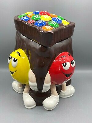 $15.99 • Buy M&M's Brown Cookie Jar With Red & Yellow Guys And Green Lady From 2002