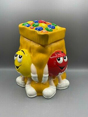 $15.99 • Buy M&M's Yellow Cookie Jar With Red & Yellow Guys And Green Lady From 2002