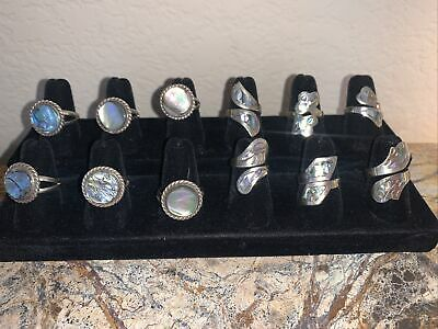 $ CDN26.80 • Buy LOT  Of 12'Vintage Alpaca  Silver Mother Of Pearl Abalone Rings Mexico Signed