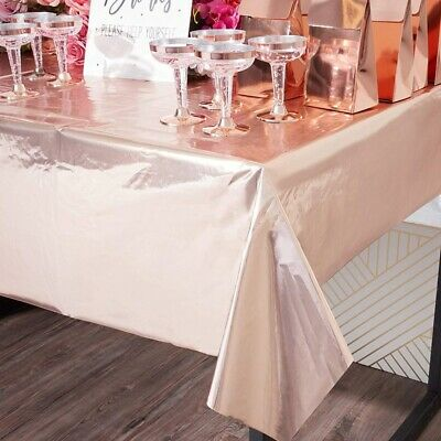 £5.59 • Buy Rose Gold Disposable Tablecloth Table Covers Cloth Clean Birthday Party Decor