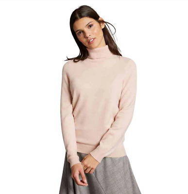 £32.99 • Buy EX M&S Pure Cashmere High Roll Neck Jumper In Blush Pink, Cashmere Polo Neck