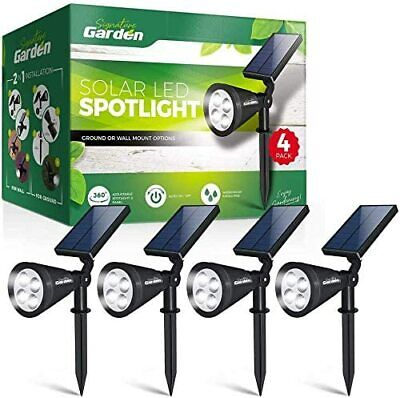 £19.95 • Buy LED Solar Garden Spotlights (4 Pack) No-Wire Installation Ground Or Wall Mount.