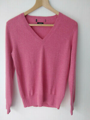 £29.99 • Buy EX M&S Pure Cashmere V Neck Jumper With Ribbed Hem And Cuffs In Pink / Raspberry