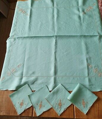 £8 • Buy Vintage French Green Linen Embroidered Table Cloth & 4 Napkins