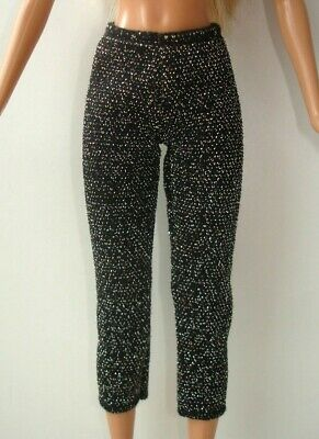 £5 • Buy Barbie Doll's Black Colour Glittery Sparkly Cropped Leggings Genuine Clothes