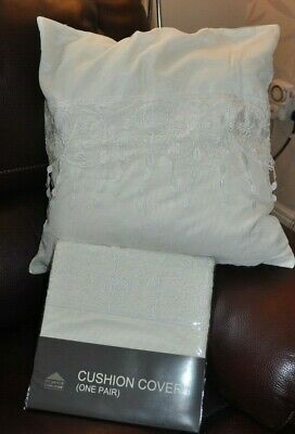 £5.99 • Buy 2 X Dunelm Mill  IVORY ROSE  Beige Floral Cushion Covers, 43 X 43 Cm