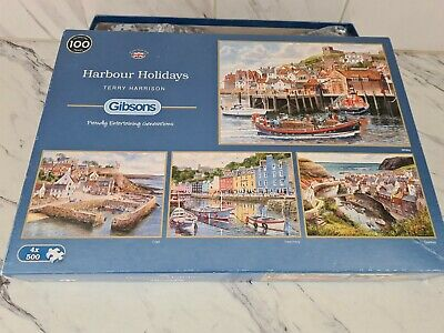 £8.50 • Buy Gibson 4 X 500 Piece Jigsaw Puzzles Harbour Holidays Terry Harrison