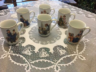 $ CDN20.64 • Buy Vintage 1985 Norman Rockwell Museum Coffee Mugs Cups Set Of 6 White W/ Gold Trim