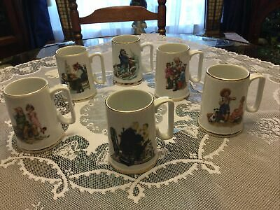 $ CDN18.21 • Buy Vintage 1985 Norman Rockwell Museum Coffee Mugs Cups Set Of 6 White W/ Gold Trim