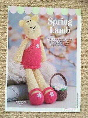 £1 • Buy SPRING LAMB KNITTING PATTERN - Pretty Toy Lamb With Her Basket Of Flowers