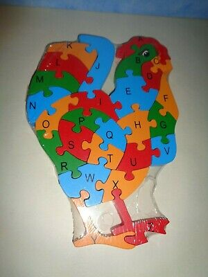 £6.50 • Buy New Chunky Wooden Chicken  Shaped Reversible Alphabet & Numbers Jigsaw Puzzle