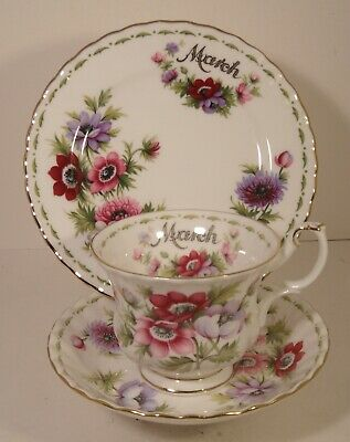 £24.99 • Buy Royal Albert Flowers Of The Month Trio March Anemones First Quality