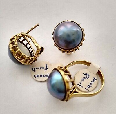 $38 • Buy Vintage 14k Yellow Gold Classic Large Mabe Pearl Set Ring Clip Pierced Earrings