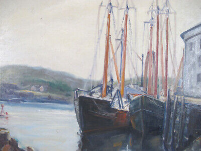 $190.50 • Buy Vintage Emile Albert Gruppe Oil Canvas Painting Docked Ships Gloucester MA Yqz