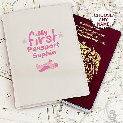 £14.90 • Buy Personalised Baby Girls Passport Holder Cover Kids Children's Child Pink Leather