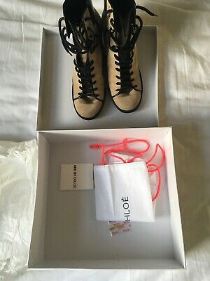 £50 • Buy SEE BY CHLOÉ Peter Camel Suede Wedge Trainers Size 40