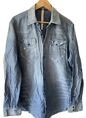 £8 • Buy G Star Raw Light Weight Distressed Chambray Denim Relaxed Military Worker Shirt