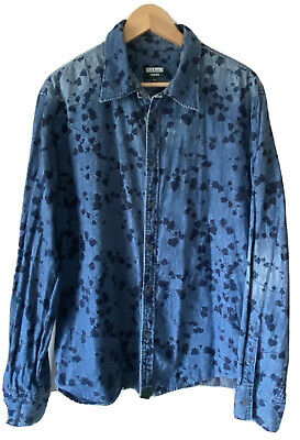 £5 • Buy Paul Smith PSJ Red Ear Light Weight Leaf Printed Relaxed Chambray Denim Shirt