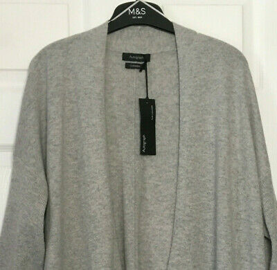 £79.95 • Buy M&S Ladies Cardigan Grey Open Front Pure Cashmere BNWT Marks Autograph