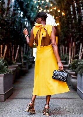£2.90 • Buy Yellow Backless TopShop Side-slit Midi Dress Size 6-8 Bow Tie At The Back