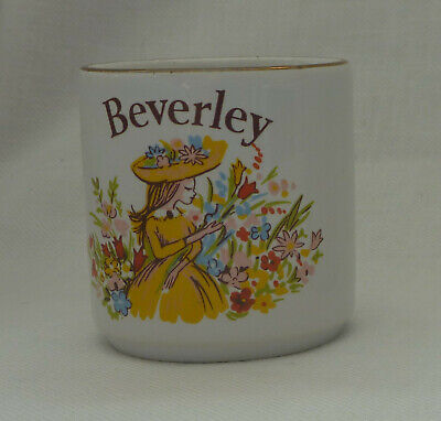 £2.75 • Buy Egg Cup With Name BEVERLEY Personalised. Flower Design, Gilt Rim