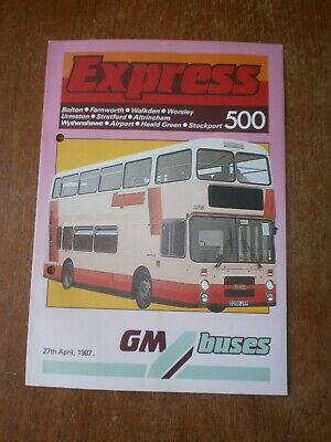 £1.50 • Buy Greater Manchester Buses Timetable Leaflet-Route 500, 1987