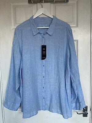 £10 • Buy Brand New M&S Curve Blue Striped 100% Linen Casual Shirt Size 26