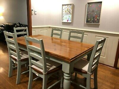 AU250 • Buy Used Solid Pine Timber 6 Seater Dining Table And Chairs