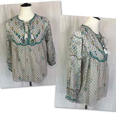 £14.16 • Buy Lucky Brand Embroidered Peasant Top Boho Blouse Tassel Tie Size S