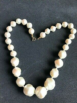 £12.50 • Buy Vintage 1950s Trifari Twisted Cream Opalescence Bead Necklace Hand Knotted