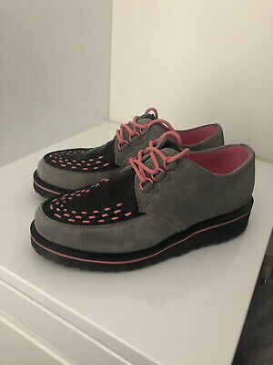 £100 • Buy Dr Martens Grey & Pink Suede And Leather Creepers Size 5