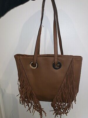 £3 • Buy Brown Leather Bag With Fringe Detail