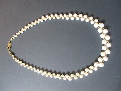 £35 • Buy Trifari Vintage Gold Tone And Faux Pearl Twisted Necklace 46 Cm In Length