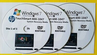 £14.87 • Buy HP TouchSmart 600-1047 Factory Recovery Media 3-Discs / Windows 7 Home 64-bit