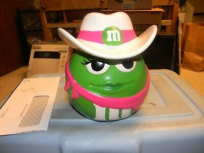 $29.99 • Buy Green M&m's Cowgirl Cookie Jar Green And Pink With White Cowboy Hat And Bandana