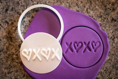 AU8.95 • Buy XOXO Hugs And Kisses Heart Cookie, Fondant Cutter And Embosser, 3D Printed