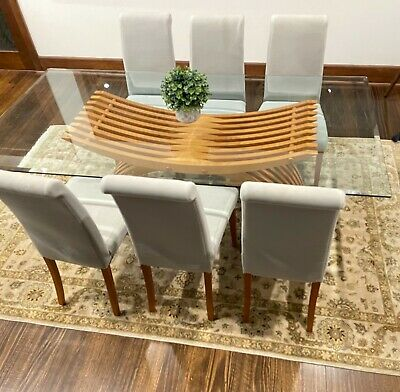 AU450 • Buy Timber And Glass Dining Table, 6 Chairs, And Matching Coffee Table