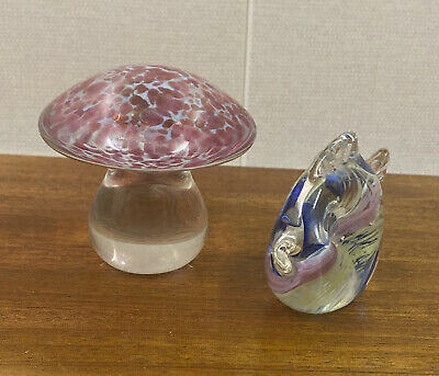 £8 • Buy Selkirk Art Glass Paperweight Mushroom Signed & Sticker Collectable With 1 Other