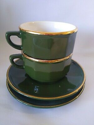 £19.99 • Buy 2 X Large Vintage Apilco Green French Bistro Coffee Cups & Saucer Cappuccino 4