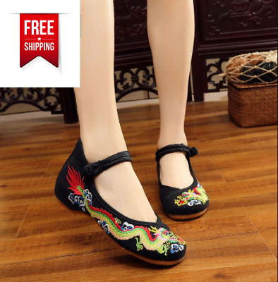 £15.57 • Buy Chinese Embroidered Phoenix Flower Cloth Shoes Women Mary Jane Flat Loafer Shoes