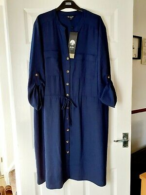 £5.50 • Buy Ladies EDIT MAX HAYES Blue Button Front Dress,new With Tags,size 24,tie Waist