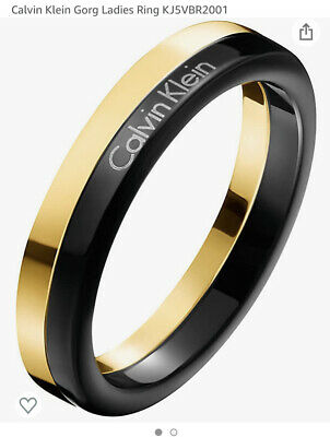 £22.99 • Buy CALVIN KLEIN Gorg Black And Gold Stainless Steel Ring Size L BNIB