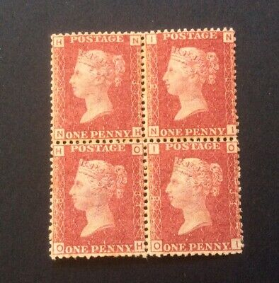 £59 • Buy Queen Victoria One Penny Red Block Of Four Plate 184 Lightly Hinged Stamp