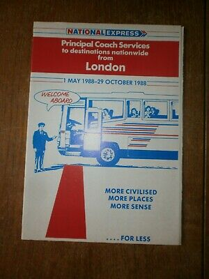 £1.50 • Buy National Express Timetable Leaflet-Principle Coach Services From London 1988