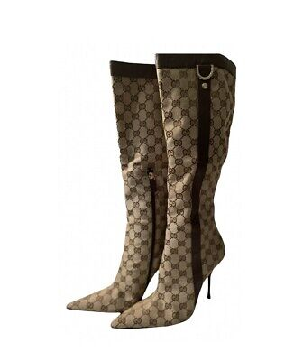 £355.50 • Buy Gucci Boots Heels Monogram Size 7/40 Logo Brown Leather Canvas GG Authentic