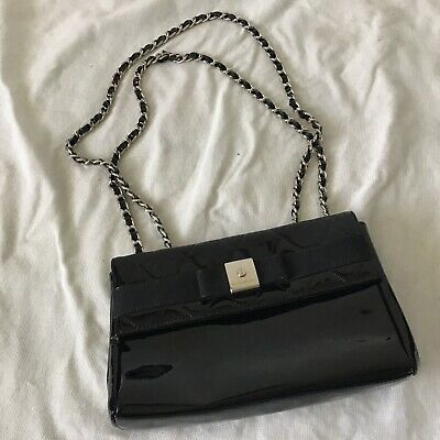 £45 • Buy Russell And Bromley Leather Quilted Black Patent Chain Bag Gun Metal