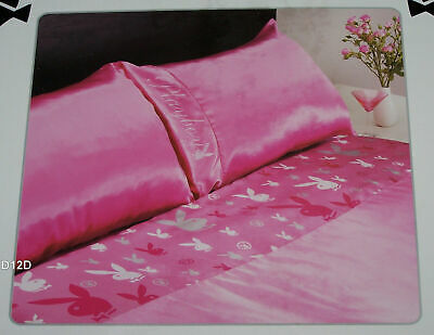 AU60 • Buy Playboy Bunny Pink Printed Double Bed Satin Fitted Sheet Set New