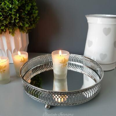 £7.75 • Buy Mirrored Round Silver Candle Tray Perfume Trinket Display