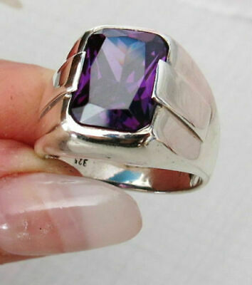 £8.59 • Buy Aaa Quality 925 Sterling Silver Mens Jewelry Brazil Purple Amethyst Mens Ring